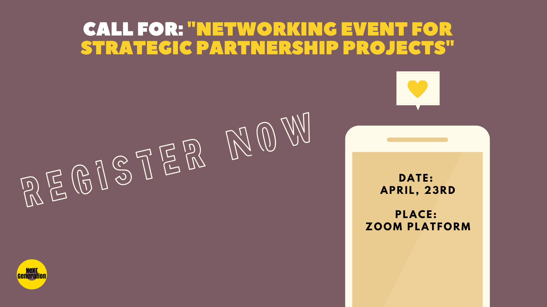 "Call For Organisations For A ""Networking Event For Strategic Partnership Projects"""